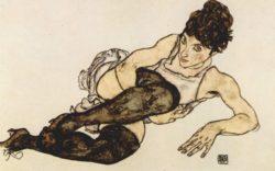 Egon Schiele: Kobieta z zielonymi pończochami
